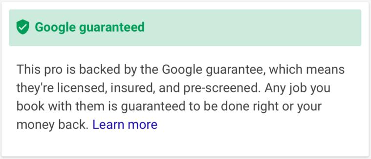 Google Guarantee Canada